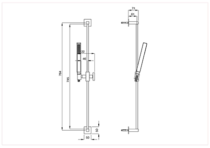 Complete square type latch, square shower head.