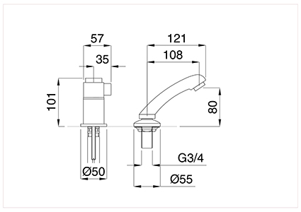 Single-lever thermostatic hairdresser sink extractable shower head.