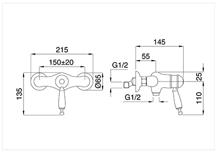 External thermostatic single-lever shower with 3/4'' joint for fixed beam.