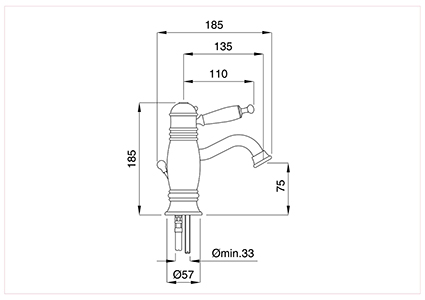 Single-lever sink thermostatic 1''1/4 automatic drain with flex inox.
