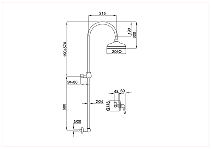 Recess single-lever with column and duplex.