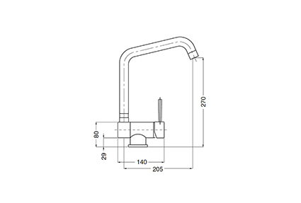 One-hole single-lever lowering tap.