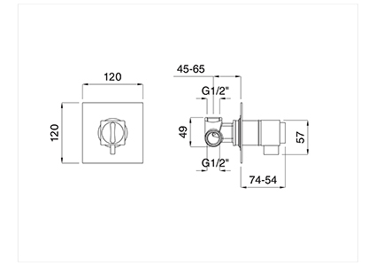 Thermostatic recess single-lever shower.