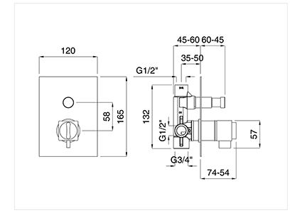 Recess thermostatic single-lever 2-output with diverter.